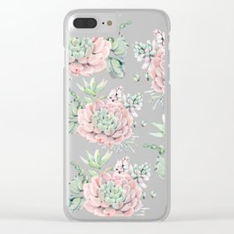 Pretty Pink Succulents Garden Clear iPhone Case