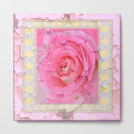SHABBY CHIC PALE PINK  GARDEN ROSE PATTERN PINK ABSTRACT Metal Print