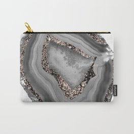 Gray Agate Rose Gold Glitter Glam #1 #gem #decor #art #society6 Carry-All Pouch