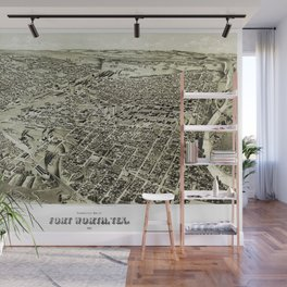 Fort worth texas vintage map Wall Mural