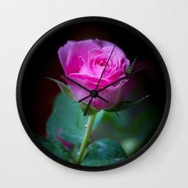 Wet Pink Rose Wall Clock