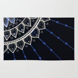 Mandala - Blue and Black Rug