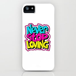 Love Quote Design, Colorful Hearts, Rainbows and Flowers (15) iPhone Case