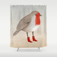 robin Shower Curtains featuring Robin by Hana Stupica