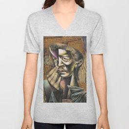 African-American Classical Masterpiece 'Headlines' by Charles White Unisex V-Neck