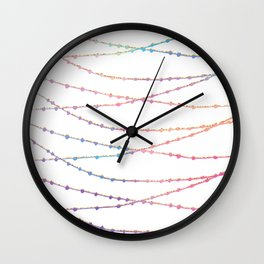 Modern abstract ombre pink lavender string lights Wall Clock