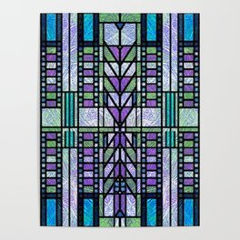 Aqua and Green Art Deco Stained Glass Design Poster