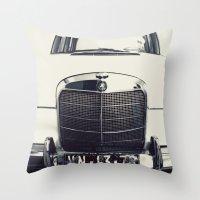 mercedes Throw Pillows featuring Benz by farsidian