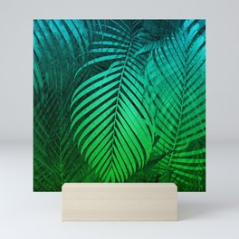 TROPICAL GREEN BLUE LEAVES Mini Art Print