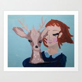 ~ Oh Deer I Love You ~ 10 year Old Amelia's Art Art Print