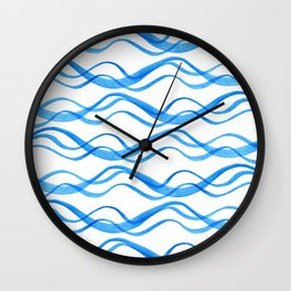 Wave ~ blue watercolor pattern Wall Clock
