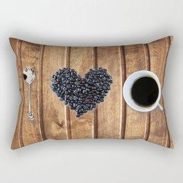 I love coffee on wood Rectangular Pillow