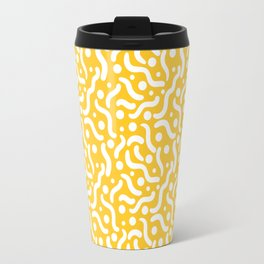 Yellow background with curves and dots. Travel Mug