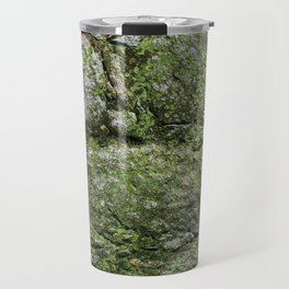 Wall of rocks covered with moss and plants Travel Mug