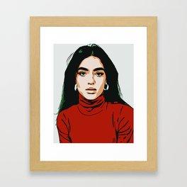 Red Latina Girl Minimalist Digital Art Vector Illustration Framed Art Print