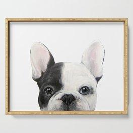 French Bulldog Dog illustration original painting print Serving Tray