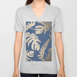 Simply Tropical Palm Leaves White Gold Sands on Aegean Blue Unisex V-Neck