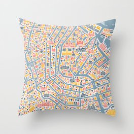 Amsterdam City Map Poster Throw Pillow
