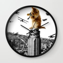 Classic King Kong Scene Cat Kitty Attack Space Galaxy Crazy Airplane Wall Clock