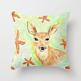 Fawn and starfish illustration Throw Pillow