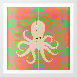 Psychedelic Vintage Octopus Texture Print Art Print