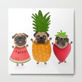 Fruit pugs, fun summer art Metal Print