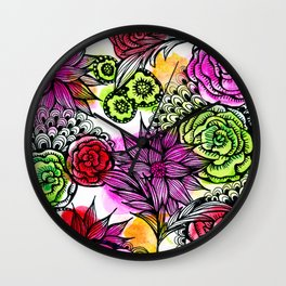 colorful flower doodles Wall Clock