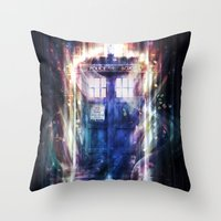 tardis Throw Pillows featuring Tardis by Jasric Art