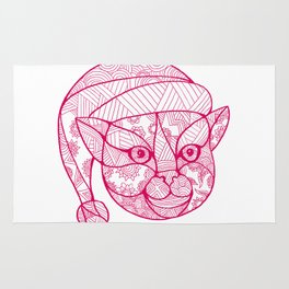 Cat Wearing Santa Hat Mandala Rug