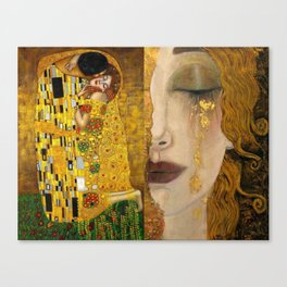 Gustav Klimt portrait The Kiss & The Golden Tears (Freya's Tears) No. 1 Canvas Print