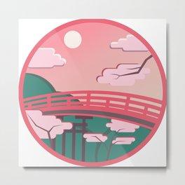 Japanese bridge in bright colors Metal Print