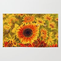 sunflowers Area & Throw Rugs featuring SUNFLOWERS by Vargamari