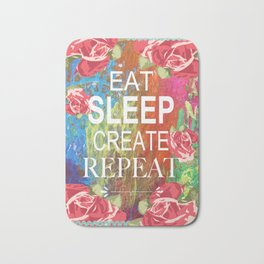 Eat Sleep Create Repeat Mixed Media Collage Bath Mat