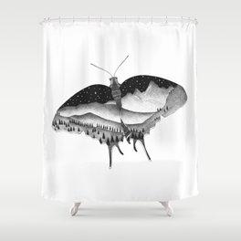 Dotwork Butterfly Landscape Shower Curtain