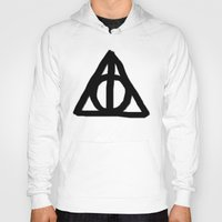 deathly hallows Hoodies featuring Deathly Hallows on Parchment by Hannah Ison