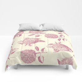 Big lush hydrangea flowers on off-white background seamless pattern. Pale pink. Atemporal, classic. Comforters