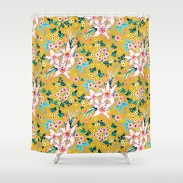 Tropical Lily botanical hand-painted floral pattern on mustard summer spring fall background Shower Curtain