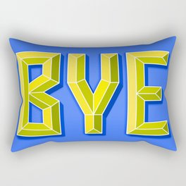 """BYE"" 3D Letters (Bright Blue, Neon Yellow) Rectangular Pillow"