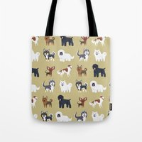 russian Tote Bags featuring RUSSIAN DOGS by Doggie Drawings