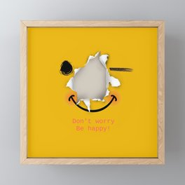 Don't worry be happy - funny emoticon Framed Mini Art Print