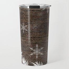 Winter white snow pine trees brown rustic wood Christmas Travel Mug