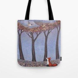 fox and chickadees Tote Bag