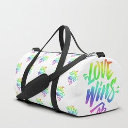 Love Wins Lettering with Rainbow colors Gradient Duffle Bag