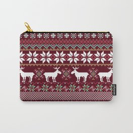 Vintage Christmas Knitted Ugly sweater illustration Pattern. Festive Fair isle Design. Christmas knitted pattern Carry-All Pouch