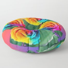 Rainbow Roses for my Valentine Floor Pillow