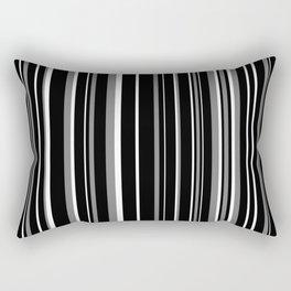 Black, White, and Medium Gray Barcode Stripe Rectangular Pillow