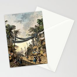 Market Scene in an Imaginary Oriental Port 1764 Stationery Cards
