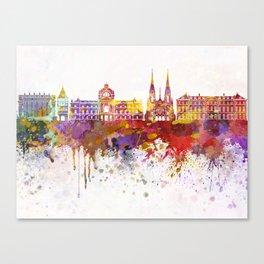 Strasbourg skyline in watercolor background Canvas Print