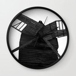 Wooden Windmill Wall Clock