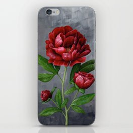 Red Peony Flower Painting iPhone Skin